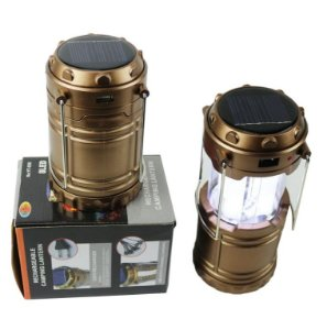 SOLAR ZOOM RECHARGEABLE LED CAMPING LANTERNA COM GANCHOS