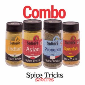 Combo Salière Spice Tricks Sabores (Asian. Indian, Provence e Spanish)