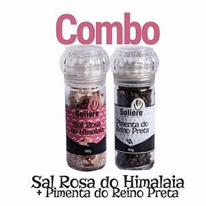 Combo Salière Sal Rosa do Himalaia + Pimenta do Reino Preta