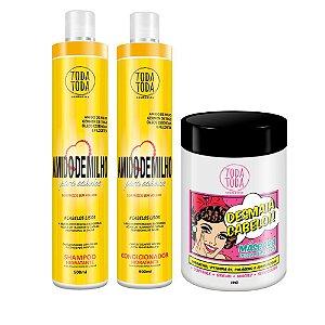 Kit Desmaia Cabelo 1kg + Shampoo e Condicionador Amido de Milho