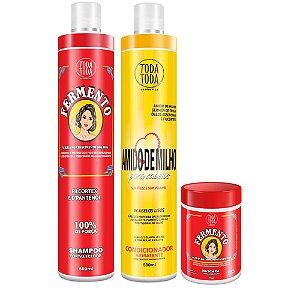 Kit Shampoo Fermento 500 ml + Condicionador Amido de Milho 500 ml + Másc Ferm 1kg