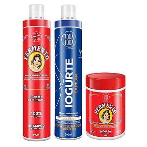 Kit Shampoo Fermento 500 ml + Condicionador Iogurte 500 ml + Másc Ferm 1kg