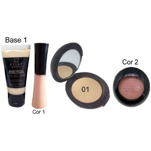 Kit de Maquiagem Hipoalergênica para Pele Completo Cor 01 blush 2 Eclat Alergoshop