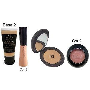 Kit de Maquiagem Hipoalergênica para Pele Completo Cor 03 Blush 2 Eclat Alergoshop