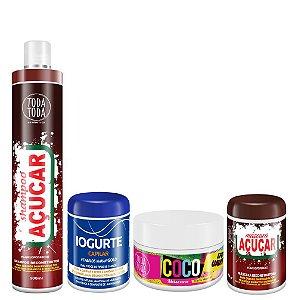 Kit Cronograma Capilar Shampoo + Máscara Açúcar + Máscara de Coco + Máscara de Iogurte
