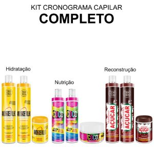 Kit Cronograma Capilar Completo - Amido de Milho Coco e Açúcar - Máscaras Pequenas