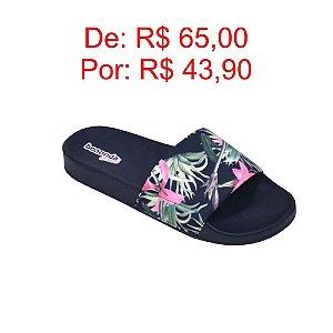 Chinelo Feminino Slide Floral Cor Preto - Boa Onda