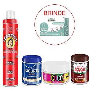 Kit Shampoo Fermento + Cronograma Capilar - Brinde Suplemento Vitamínico Cabelos e Unhas