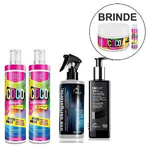 Kit Coco Shampoo + Condicionador + Truss Night Spa + Uso Obrigatório + Brindes