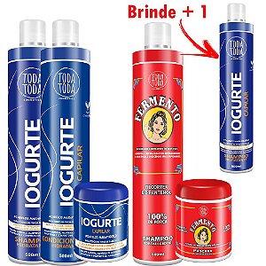 Kit Iogurte Capilar + Fermento Capilar Promoção Ganhe Shampoo de Iogurte