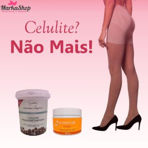 Kit para Tratamento de Celulite Meia Sculptor Natural + Bálsamo Anti Celulite + Creme Café Verde