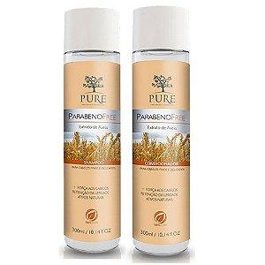 Kit Shampoo + Condicionador Pure Parabeno Free Extrato de Aveia 300ml Cabelos Finos