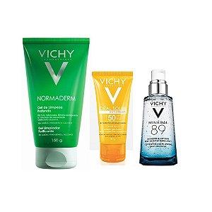 Kit Para Pele Oleosa Uso Diário Vichy Gel de Limpeza + Protetor Solar FPS 50 Antibrilho + Mineral 89