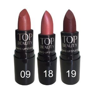 Batom Tradicional Top Beauty Kit c/3 Unidades Desconto Especial Kit 3