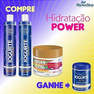 Kit Hidratação Power Iogurte + Argan Shampoo + Condicionador + Máscara 500g Ganhe Máscara 250g