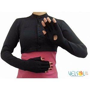 Bolero com Abertura Frontal e Luvas De Proteção Solar FPU 50+ Cor Preto Velsol