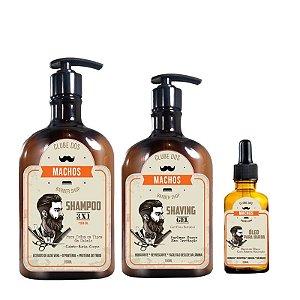 Kit Clube dos Machos Cabelo e Barba Shampoo + Gel de Barbear + Óleo para Barba