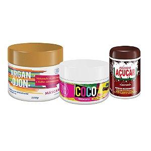 Kit Cronograma Capilar Máscara Argan Ojon + Máscara de Coco + Máscara de Açúcar