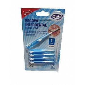 Escova Dental Orvital Interdental 0,7mm cor Azul com 5 unidades
