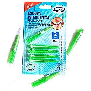 Escova Dental Orvital Interdental 0,8mm cor Verde com 5 unidades