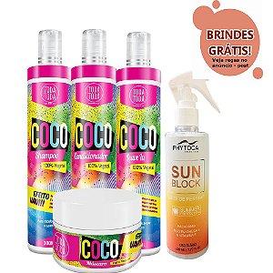 Kit Coco Shampoo + Condicionador + Leave-in + Máscara 300g + Leite Pentear Sun Block