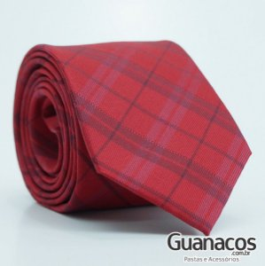 Gravata Red Chess - Pierre Cardin - Semi slim 8cm