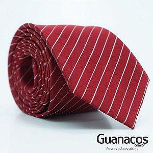 Gravata de Seda semi slim - Vermelho Stripes - Schiafine