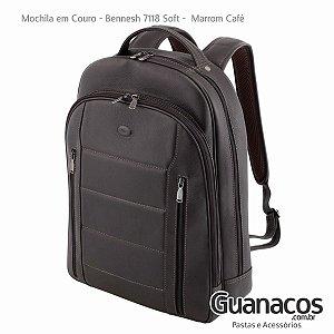 Mochila em Couro - Bennesh 7118 Café - Notebook 15.4