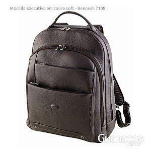 Mochila em Couro Soft - Bennesh 7108 - Café - Notebook 15.4