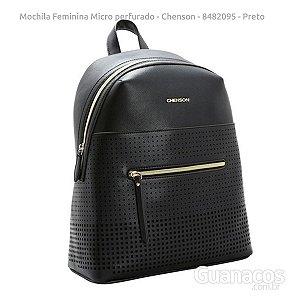 8c80c3b7e Mochila Social Feminina - Mini Perfurado CG8482095 - Preto - Chenson