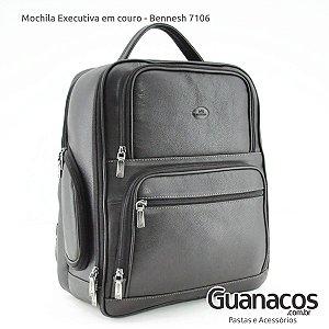 Mochila em Couro Soft - Bennesh 7106 Café - Notebook 15.4