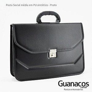 Pasta Social Executiva Master 030 Sintético - Tamanho Médio - Preto