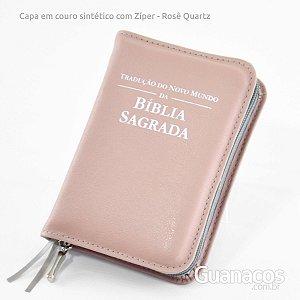 Capa para Bíblia com Ziper - couro sintético - Rosê Quartz