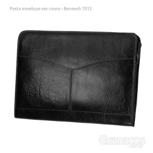 Pasta envelope em Couro - 2 divisórias - Bennesh 7012 - Preto