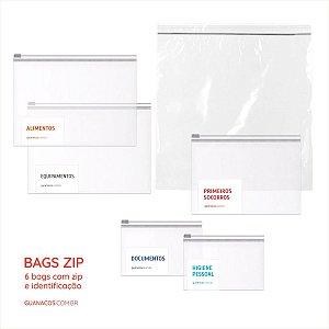 Kit 6 Bags - Fechamento hermético ZIP e identificação