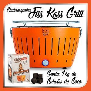 Churrasqueira Portátil a Carvão - Fiss Koss Grill - Laranja - Ganhe 1kg de Carvão de Coco