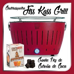 Churrasqueira Portátil a Carvão - Fiss Koss Grill - Vermelha - Ganhe 1kg de Carvão de Coco
