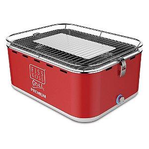 Churrasqueira Portátil a Carvão - Fiss Koss Grill Premium - Vermelha