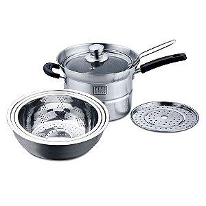 Espagueteira, fritadeira, cozimento á vapor e banho maria -  FISS KOSS Aço Inox