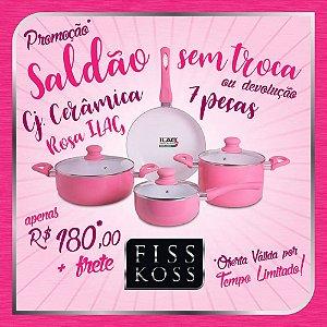 Saldão sem Troca / Devolução - Conjunto Panelas de Cerâmica 7 peças - FISS KOSS Ceramic Premium - Rosa