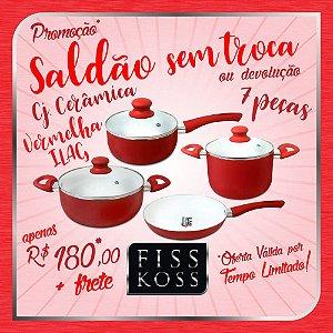 Saldão sem Troca / Devolução - Conjunto Panelas de Cerâmica 7 peças - FISS KOSS Ceramic Premium - Vermelho
