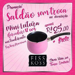 SALDÃO SEM TROCA / DEVOLUÇÃO - Mini Leiteira Antiaderente 12cm - FISS KOSS Premium - Rosa - 1L