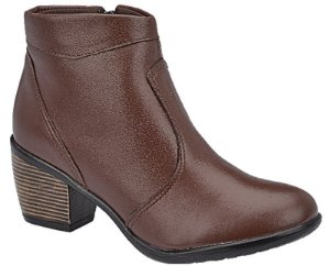 Ankle Boot Couro Marrom Salto 5,5 cm