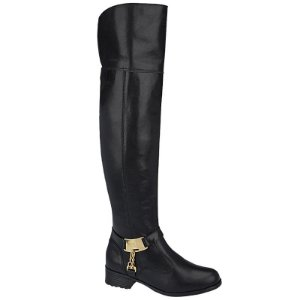 Bota Over The Knee Couro Preto Com Fivela Dourada