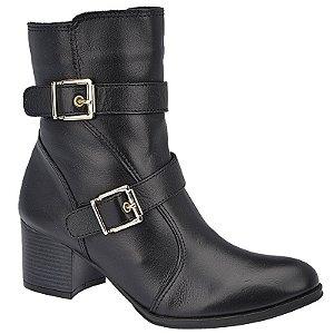 Ankle Boot Couro Preto Com Fivelas Salto 5,5 cm