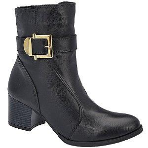 Ankle Boot Couro Preto Salto 5,5 cm