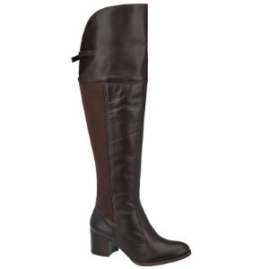 Bota Over The Knee Couro Café Com Lycra