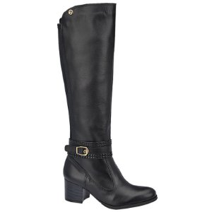 Bota Over The Knee Couro Preto Com Fivela Salto 5,5 cm