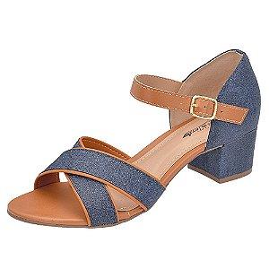 Sandália Numeração Especial Marrom Tiras Azul Jeans