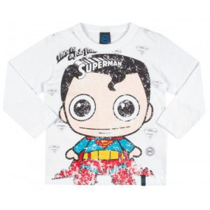 Camiseta Infantil DC - Superboy Branca